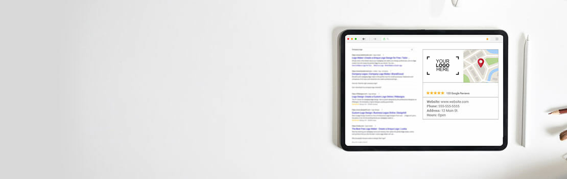 Tablet with an online business listing and review stars on a Google Search