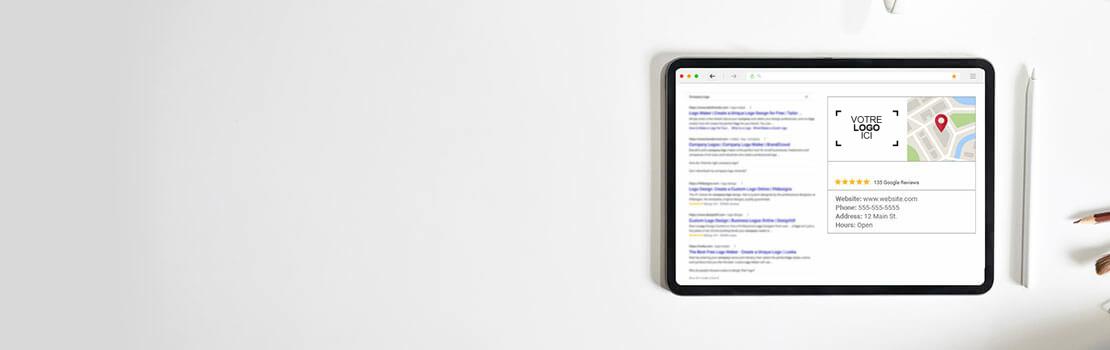 Tablette avec une annonce d'entreprise en ligne et des étoiles d'évaluation sur une recherche sur Google
