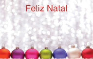 Holiday Card with colored ornaments