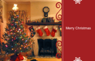 Holiday Card with a christmas tree and fireplace with stockings