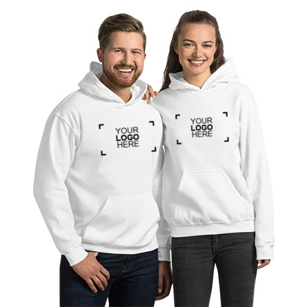 Custom hoodie with logo design surrounded by cell phone, headphones, camera, and jeans