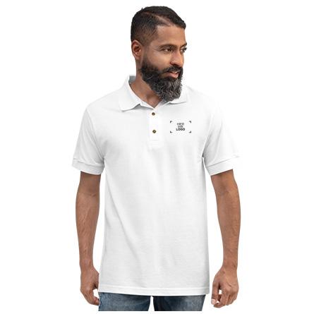 Man wearing custom embroidered polo shirt