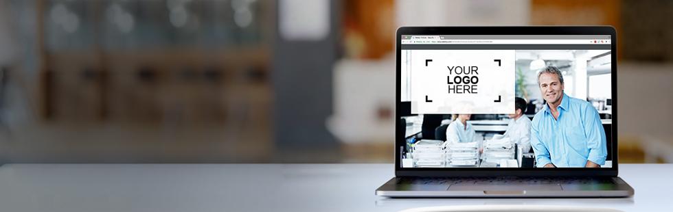 Laptop with a sample logo design