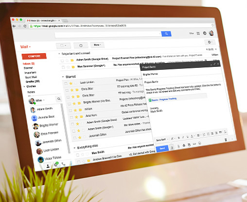 Screen Displaying Gmail Inbox