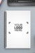 Notebook with a sample logo design