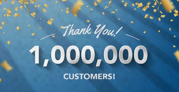 1 million customers banner