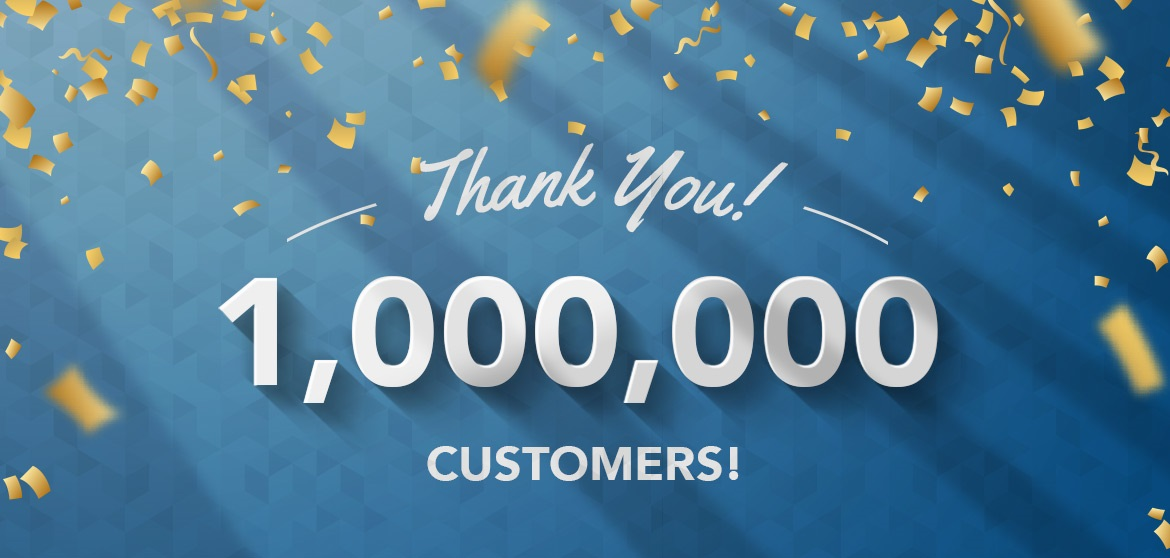 1 million customers banner
