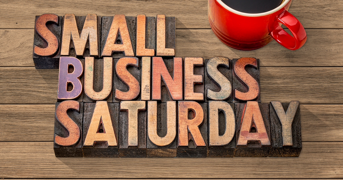 Small Business Saturday spelled out in wood blocks