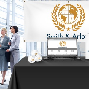 trade show booth with custom promo products