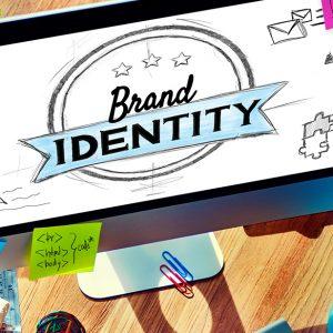 brand identity displayed on computer monitor