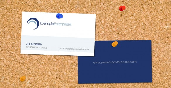 business card example on cork board
