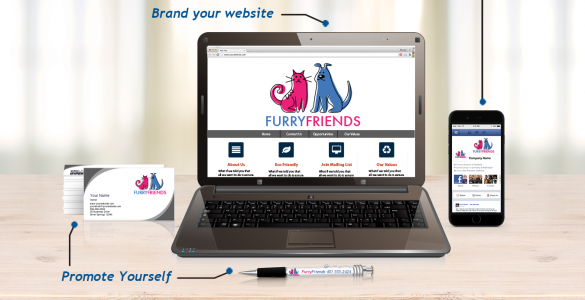 logo displayed on promo products and business website