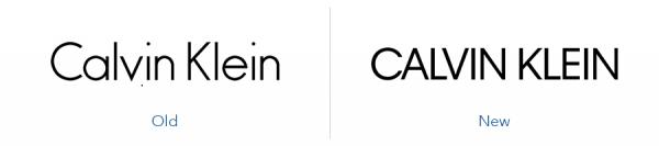 Older Calvin Klein logo version versus new calvin klein logo version