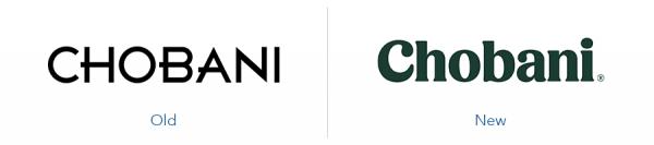 Older Chobani logo version versus new chobani logo version
