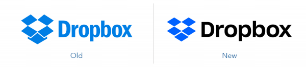 Older Dropbox logo version versus new Dropbox logo version