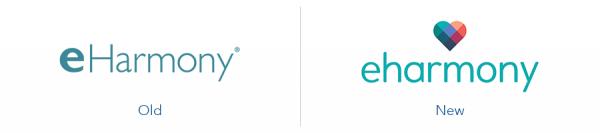Older Eharmony logo version versus new Eharmony logo version
