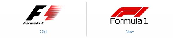 Older Formula one logo version versus new Formula one logo version