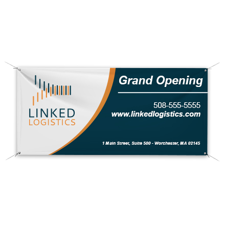 Banner with sample icon logo design and grand opening information