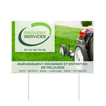 lawn sign with company logo and company information
