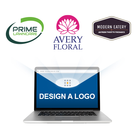 logo designs displayed on laptop