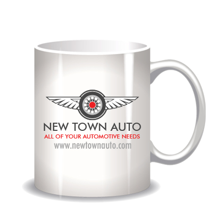Mug with sample icon logo design for New Town Auto