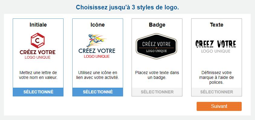 Exemples de styles de logo d'initiale, d'icône, de badge et de texte