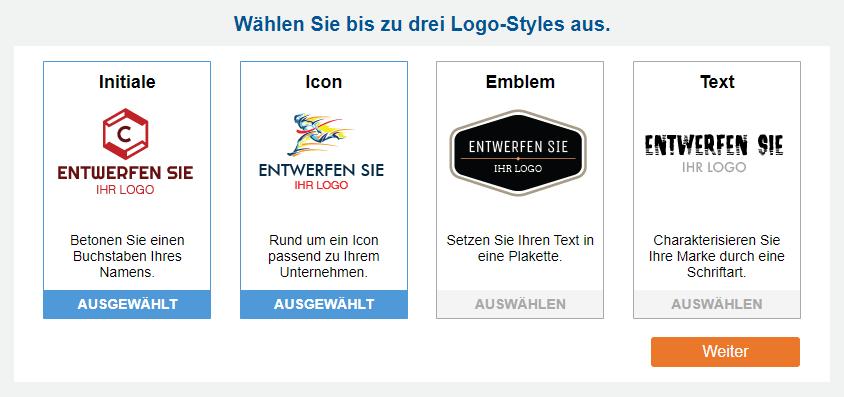 Beispiele von Initialen, Symbolen, Emblemen und Stilen für Text-Logos