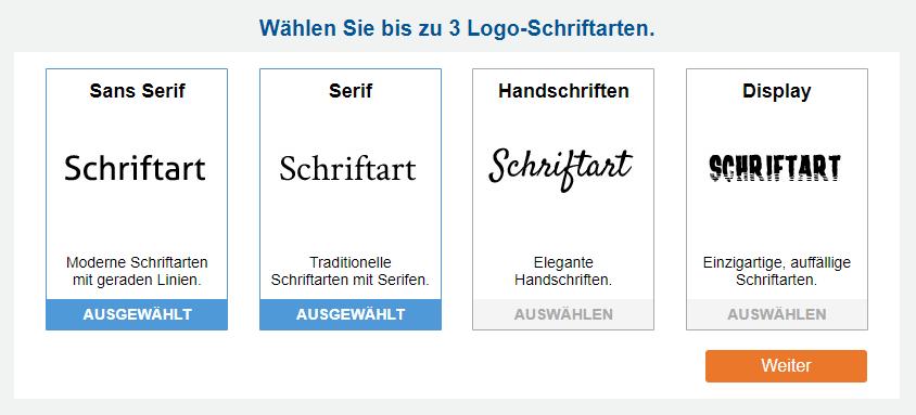Beispiele für Sans Serif-, Serif-, Skript- und Anzeigeschriftarten.