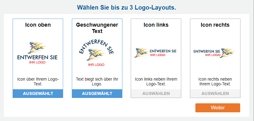 Beispiele für vier verschiedene Logoplatzierungen
