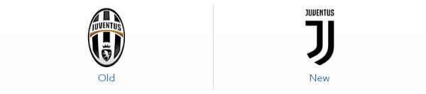 older juventus logo version versus new juventus logo version