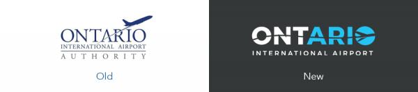 Older Ontario Airport logo version versus new Ontario Airport logo version