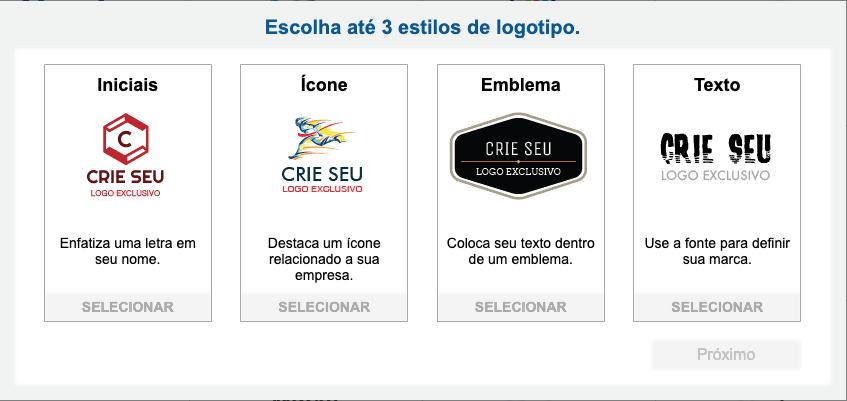 Exemplos de estilos de logotipo: iniciais, ícone, emblema e texto
