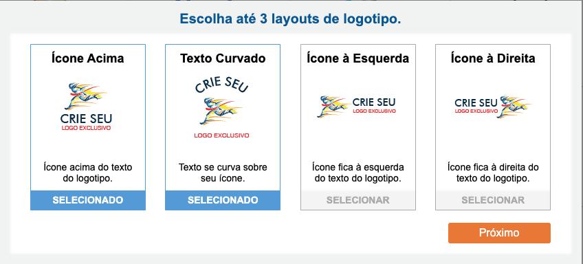 Exemplos de quatro posicionamentos diferentes em um logotipo