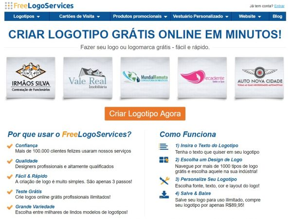 Freelogoservice home page in portuguese