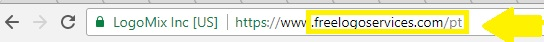 Arrow pointing to Freelogoservices URL in Portugeuse