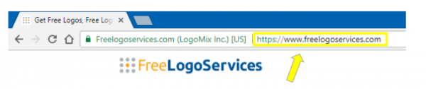 Arrow pointing to Freelogoservices URL in search bar