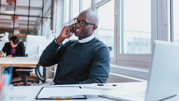 Man on the phone in an office