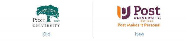 Older Post Unversity logo version versus new Post university logo version