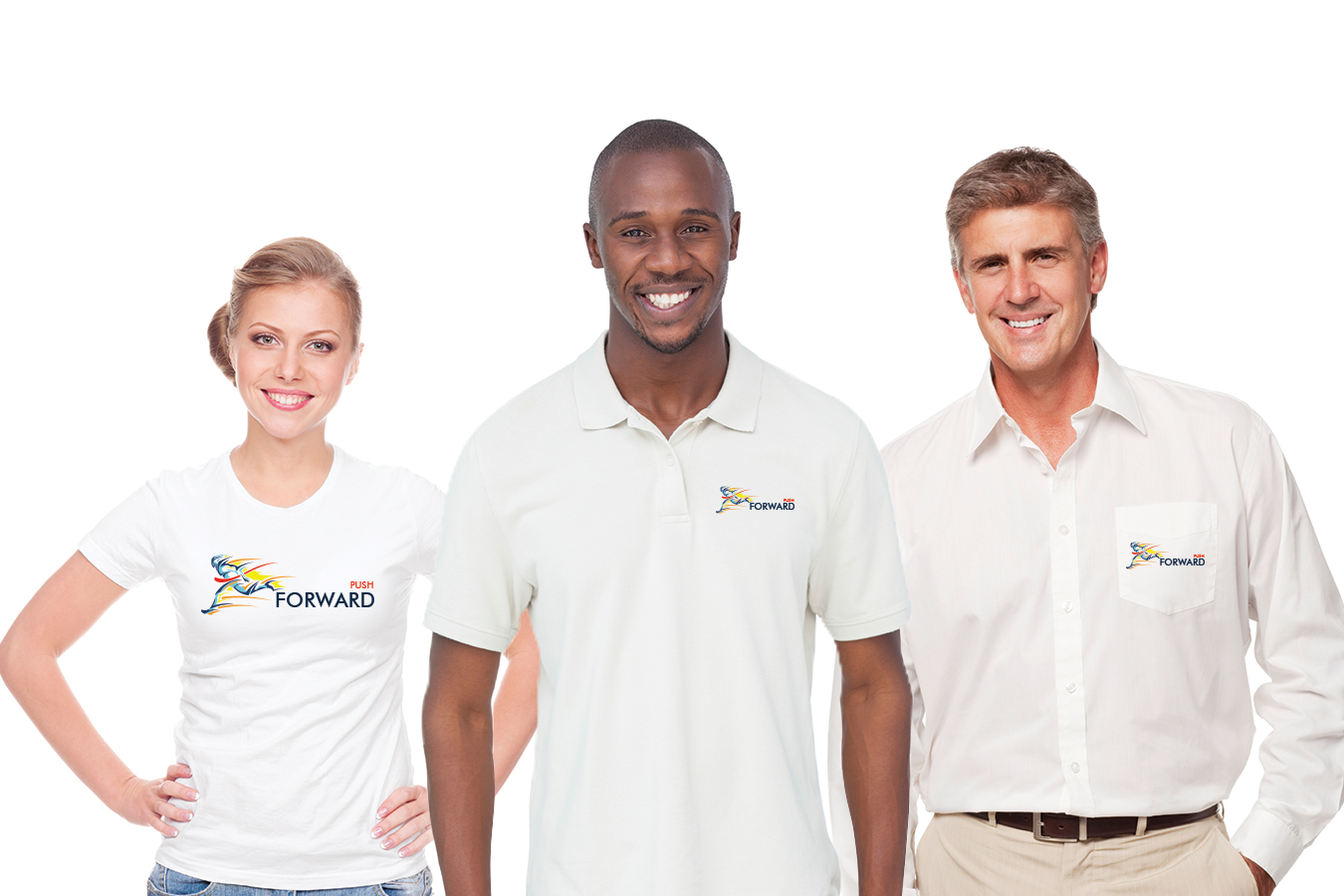 three people wearing branded shirts
