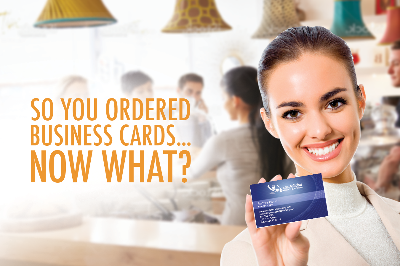 smiling woman holding business card