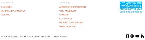 Example of website footer design