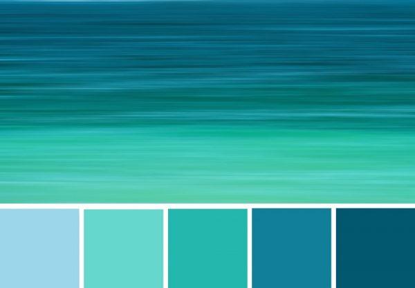 des Bildes Beruhigende, blaue Farbkombinationen und Farbproben.]