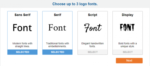 Examples of sans serif, serif, script, and display fonts.