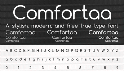 Sample text in comfortaa font