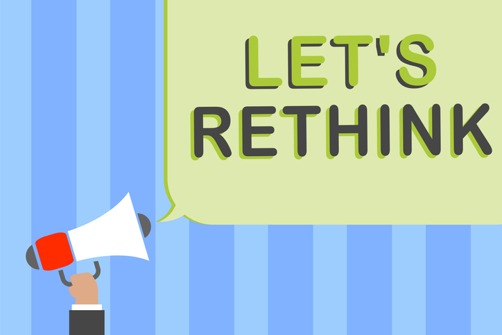"illustrated speech bubble saying ""Let's rethink"""