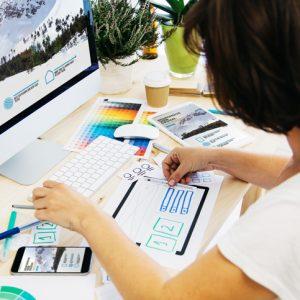 woman designing a responsive website