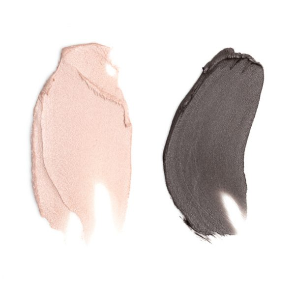 pink and charcoal makeup color combination swatch