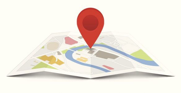 Map with a pin isolated on white.
