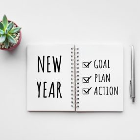 Notebook with New Years plan