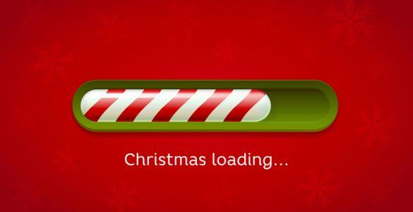 Festive Computer Loading Icon Stating Christmas Loading